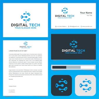 E digital logo and business card premium vector