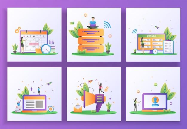 フラットなデザインコンセプトのセット。計画スケジュール、ビッグデータ、オンライン調査、eラーニング、eメールマーケティング、ユーザーアカウント。
