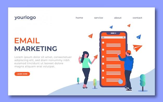 Eメールマーケティングのランディングページのデザイン。このランディングページには男性用のeメールがあり、女性は紙飛行機を捕まえています。