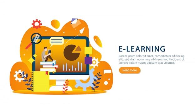 Eラーニング、eブック、またはバナーのオンライン教育のコンセプト