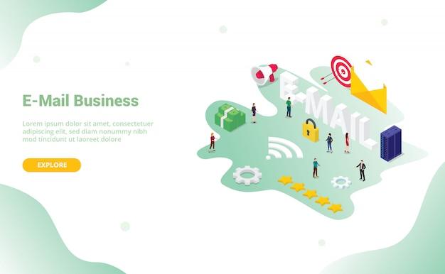 ウェブサイトやウェブデザインのランディングホームページのデザインのためのビッグワードとeメールまたはeメールのコンセプト
