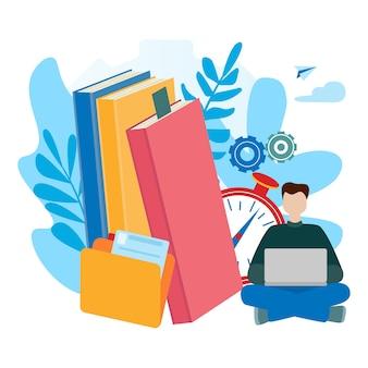 Eラーニング、オンライン教育、eブック、自己教育のための概念。