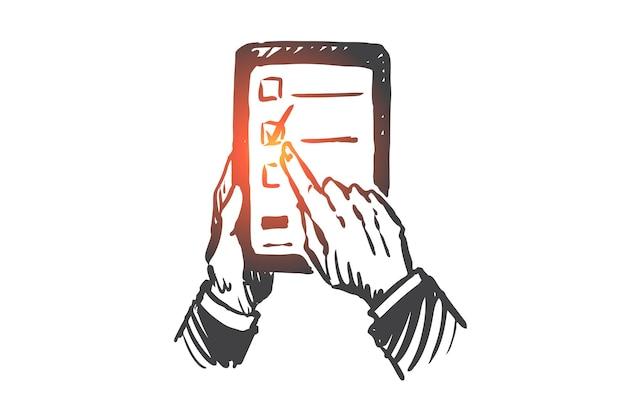 電子教育、タブレット、デジタル、テクノロジー、ライブラリの概念。学生の手の概念スケッチで手描きのタブレット。