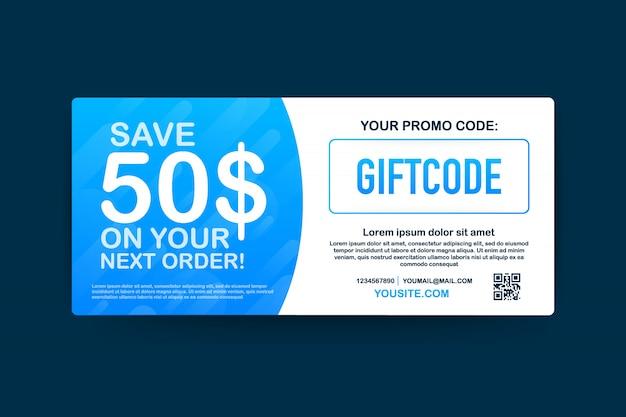プロモーションコード。クーポンコード付きギフト券。 eコマース、オンラインショッピング用のプレミアムegiftカード。マーケティング。