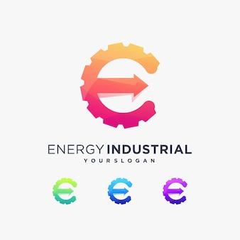 E energy industrial logo technology