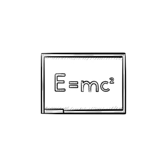 E equal mc 2 vector hand drawn outline doodle icon. physics formula - e equal mc 2 vector sketch illustration for print, web, mobile and infographics isolated on white background.