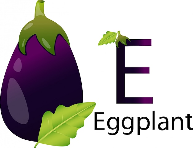 E font with eggplant