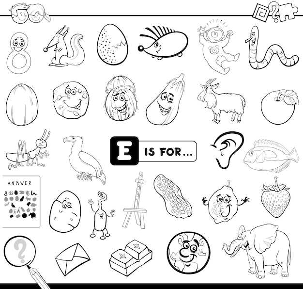 E is for educational game coloring book
