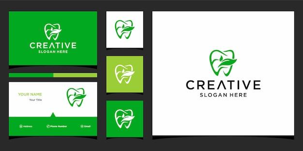 Стоматологический логотип e leaf с шаблоном бизнес-карты
