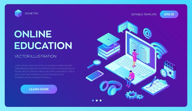 E-learning. 3d isometric innovative online education and distance learning concept. webinar, seminar, conference, teaching, online training courses.