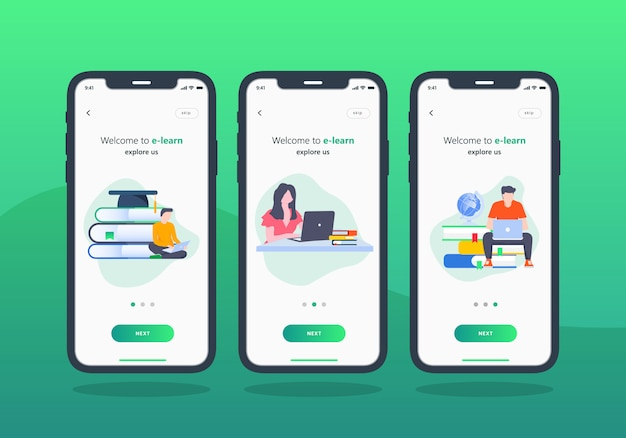 E-learning app set of onboarding screen mobile ui design