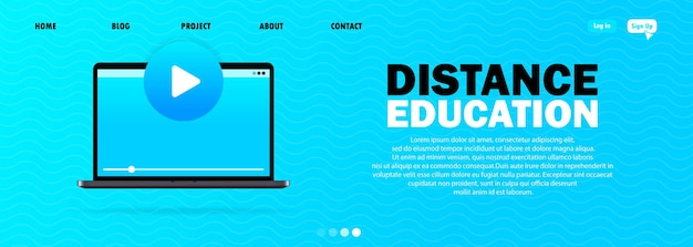 E-learning banner on blue background