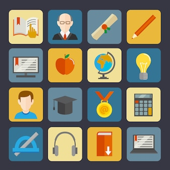 E-learning buttons set