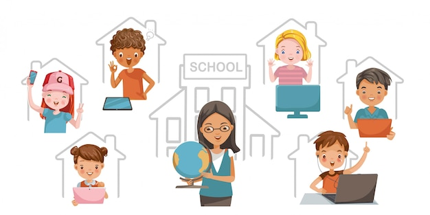 E-learning child concept. study at home or study online. children enjoy learning at home.technology for education.