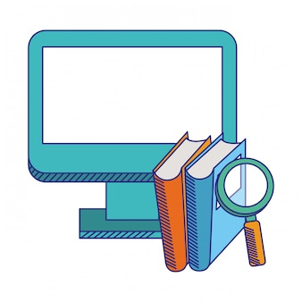 E-learning computer and books w