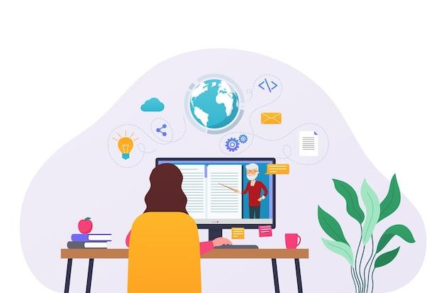 전자 학습 컴퓨터 학습, 온라인 교육. 여자는 테이블에 앉아서 컴퓨터에서 온라인 코스나 학습 가이드를 보고 있습니다.