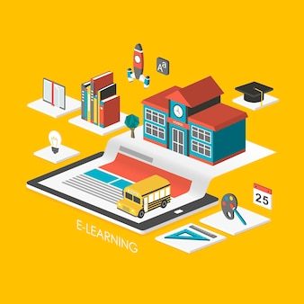 Концепция электронного обучения 3d изометрическая инфографика с планшетом и школой