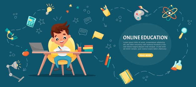 E-learning concept banner. online education. cute school boy using laptop. study at home with hand-drawn elements. web courses or tutorials, software for learning.  flat cartoon illustration