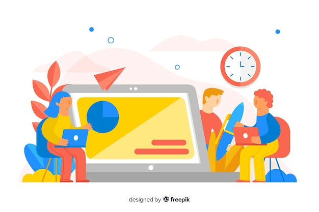 E-learning concept flat background