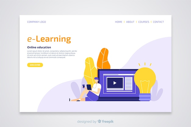 E-learning concept flat landing page
