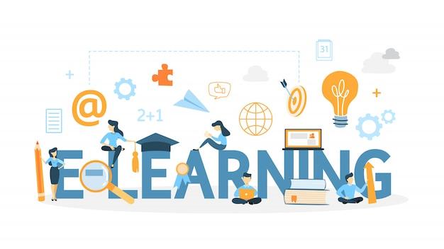 전자 학습 개념 그림입니다. 온라인 공부 아이디어.