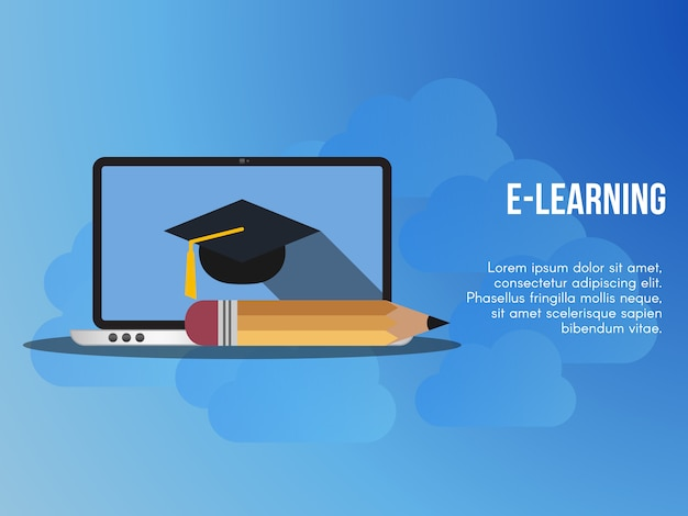 E learning concept illustration vector design template