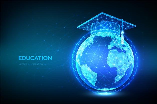 전자 학습 개념. 혁신적인 온라인 교육. 행성 지구 지구본 모델지도에 추상 낮은 다각형 졸업 모자.