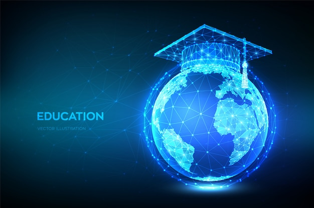 E-learning concept. innovative online education. abstract low polygonal graduation cap on planet earth globe model map.