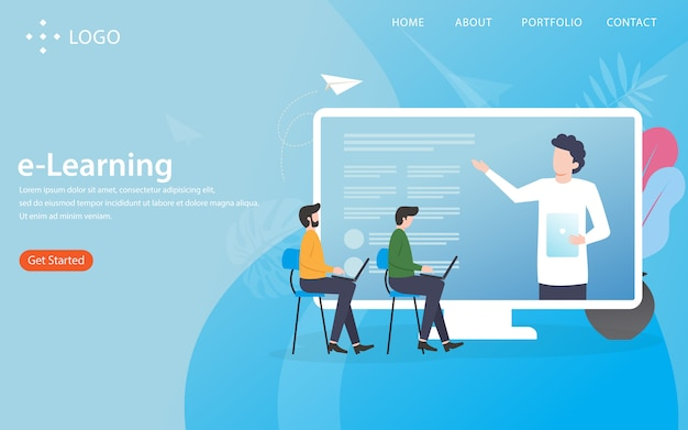 E-learning concept landing page with illustration