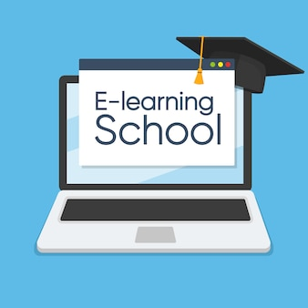 E-learning concept on laptop