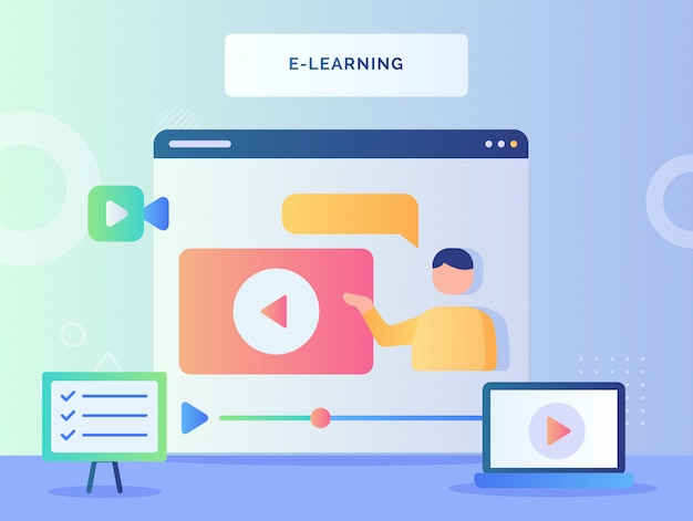 E learning concept man talking in video tutorial on computer screen with flat style