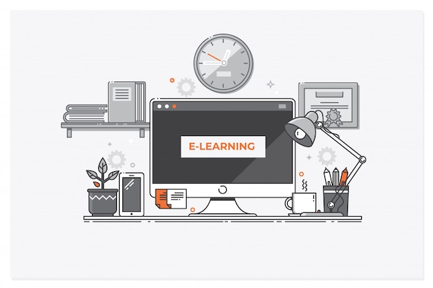E-learning concept, online education