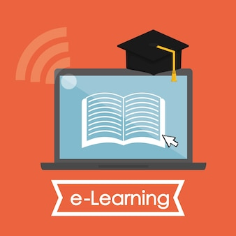 E-learning concept with icon design