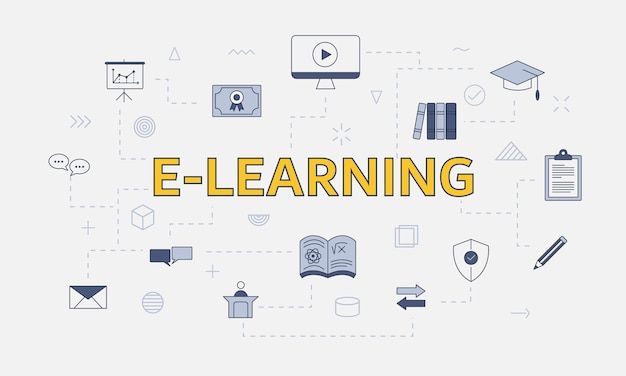 E-learning concept with icon set with big word or text on center vector illustration