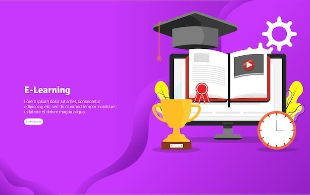 E-learning concept иллюстрация баннер