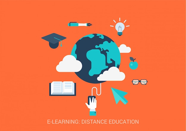 E-learning distance education concept flat style illustration. global online study.