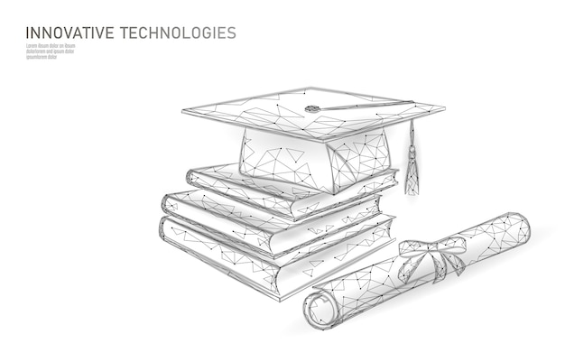 E-learning distant graduate certificate program concept. low poly 3d render graduation cap, books, diploma polygonal modern design