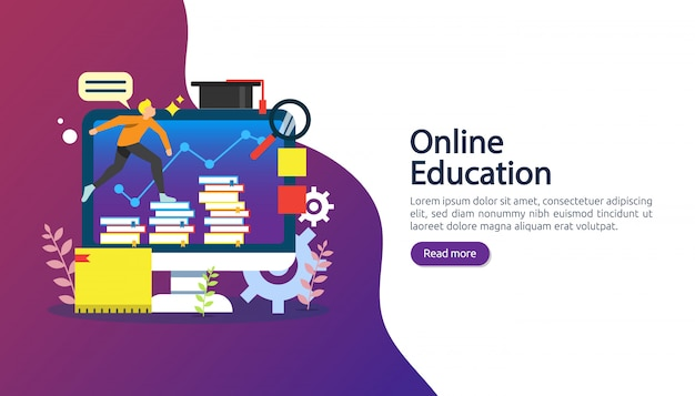 E-learning, e-book or online education concept for banner