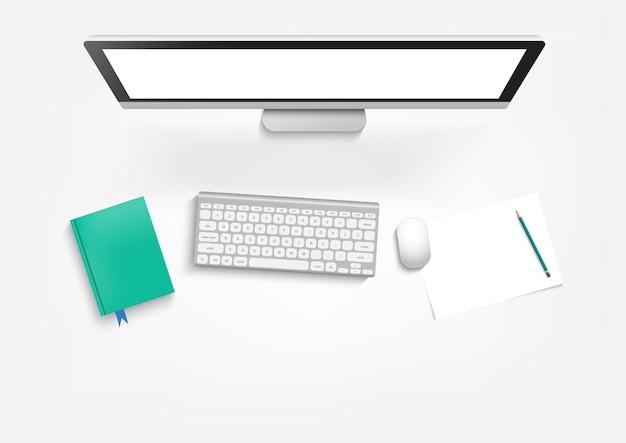 Электронное обучение, образование и университетский баннер, рабочий стол студента с ноутбуком и книгами.