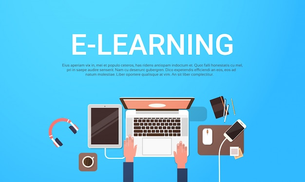 E-learning education online banner with student laptop computer workplace top view background with text template