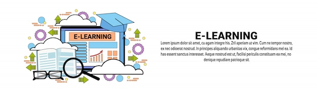 E-learning education online concept horizontal banner template