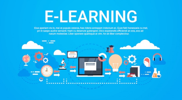 E-learning education online global distance learning concept template