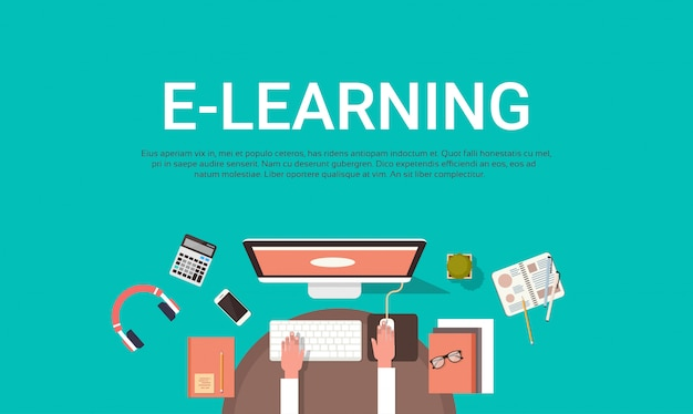 E-learning education online and university banner with student desktop computer top view template