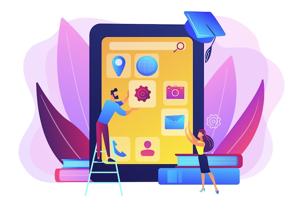 E- learning. education process. training application. mobile app development courses, mobile apps online courses, become a mobile developer concept.