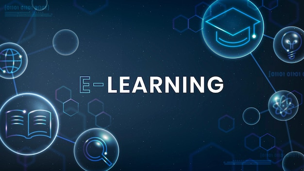 E-learning education template vector technology ad banner