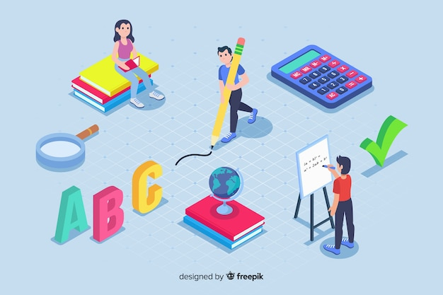 E-learning elements in isometric style