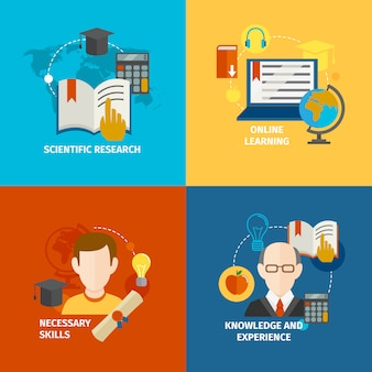 E-learning flat elements set