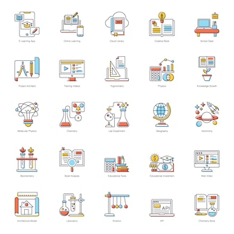E learning flat icons pack