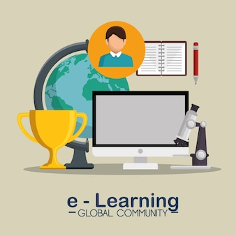 E-learning global community concept
