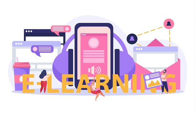 E-learning at home illustration